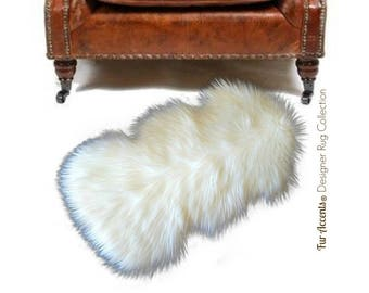 Clearance - Plush Faux Fur Accent Rug - Mini Throw - Shaggy Border Sheepskin - Chair Pad - Sale - 6 Colors - Rugs by Fur Accents - USA