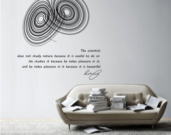 Science art physics Poincare quote & Lorenz strange attractor large vinyl wall decal educational art (ID: 121026)