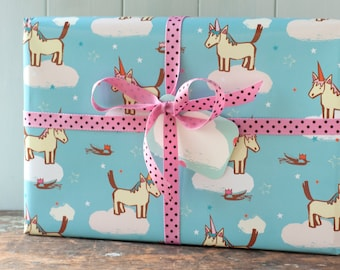 Unicorn gift wrap, wrapping paper, for birthday, for children's party, party wrap, kids gift paper, new baby paper, horse, decoupage paper