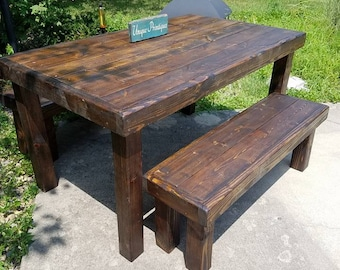 Rustic Solid Reclaimed Wood Table Benches Set Painted Stained Distressed Custom Sizes Colors By Unique Primtiques See Drop Down Menu Options