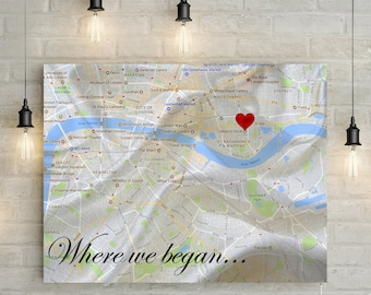 Where we met/ Where we began - Personalized Map with Custom Poem/Quote/Message - Silk/ 12th Anniversary Gift!