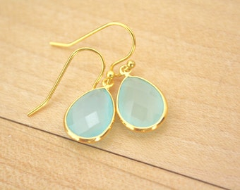 Gold Earrings, Mint Gold Drop Earrings, Aqua Chalcedony Drops, Bridesmaid Earrings, Gold Earrings, Gifts for her, mom gifts christmas