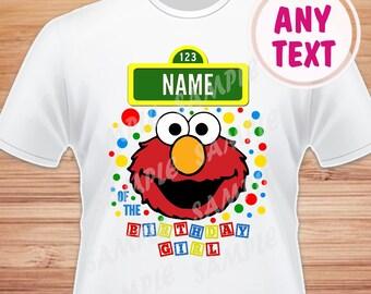 Name for Design. Head, Face Elmo Sesame Street Digital File. Printable Iron on Transfer. Family Birthday Shirts. Within 24 hours