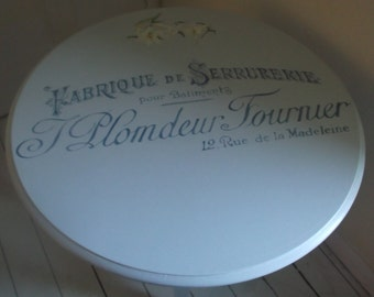 Grey / blue side table with hand painted white lilies & vintage French typography.