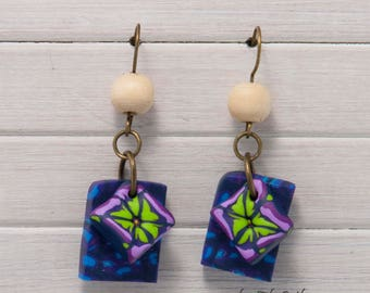 Square handmade earrings.Jewellery. Polymer clay earrings. Handmade earrings. Polymer clay earrings. Wooden bead earrings.