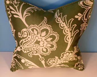 """18x18"""" Decorative Corded Pillow Cover - Green and White Floral"""