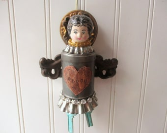 Mixed media Assemblage angel upcycled vintage metals tins copper and brass reliquary folk art doll