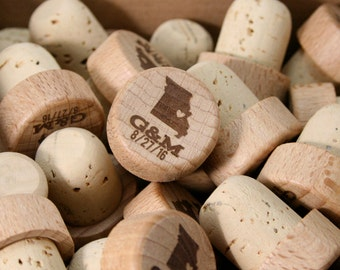 Bulk State Wine Stoppers, Personalized Wine Stoppers, Wood Wine Cork, Engraved Wedding Favor, Wedding Gift, Custom Wine Corks, State Theme