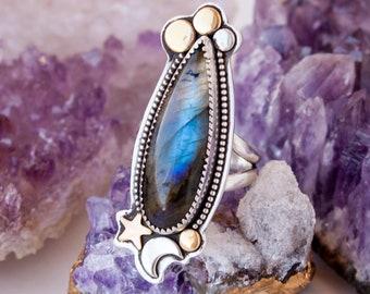 Aquarius Labradorite OOAK Ring SZ 6.75 in Sterling Silver