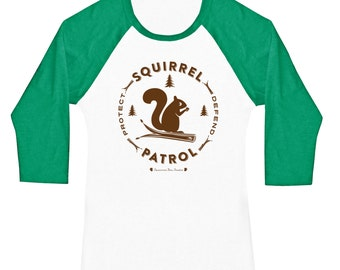 Squirrel T-shirt SQUIRREL PATROL on Slim-Fit Ladies Baseball Tee Shirt White with Green Sleeves