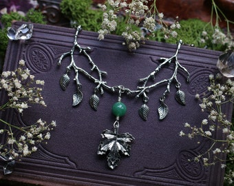 RESERVED FOR MRS_KOSUBEK * Forest Spirit Twig Necklace with Aventurine Bead and Maple Leaf