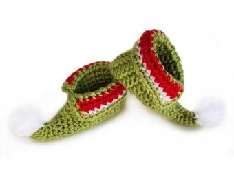 Baby Elf Shoes, Baby elf booties, Christmas elf shoes, Elf Slippers, Crochet baby booties, Baby elf costume, Christmas elf costume