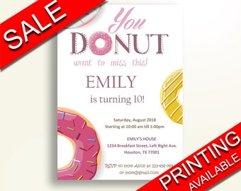 Doughnut Birthday Invite Doughnut Birthday Party Invite Doughnut Birthday Party Doughnut Invite Girl birthday supplies donut birthday 18UZC