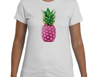 Ananas TShirt blanc rose pour femme