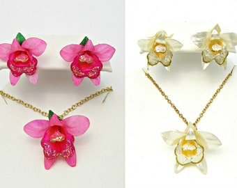 Orchid Necklace Earring Set Tropical Flower Jewelry Made with Real Fish Scales TNI10