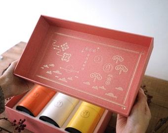 Wolf Tea  Gift Box / Best Wishes Forever - Triple Tea Caddies Set / Wedding Gift / New Year Gift