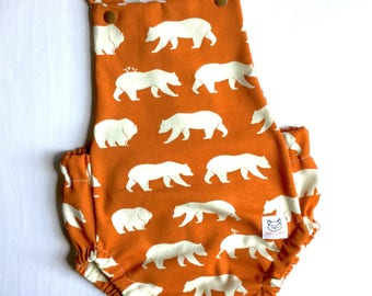 ORGANIC Baby Romper, Bubble Romper, Bears Clothes, baby gift,summer romper