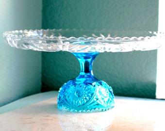 14\  Aqua Blue Cake Stand / Glass Cake Stand / Glass Cake Plate Pedestal Cake Dish Platter / Cupcake Stand / Cupcake Pedestal / Sapphire Blue & 14 Gold Cake Stand / Glass Cake Stand / Wedding Cake