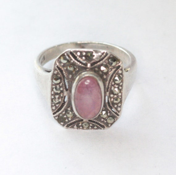 Amethyst Gemstone Ring Marcasite Sterling Art Deco Style Approximately Size 5 3/4