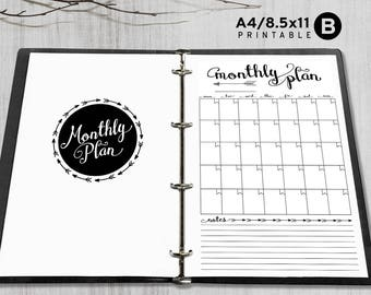 Printable Insert - A4 / Letter 8.5x11 - Printable 8.5x11 Planner Insert - Monthly Planner - Arrow