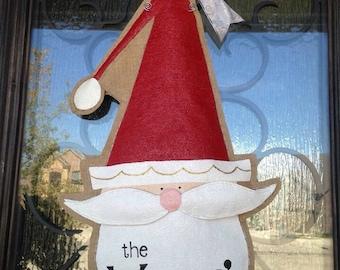 Personalized Burlap Hand Painted Christmas Santa Door Hanger