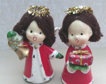 SINGING CHRISTMAS ANGELS, Napcoware, Japan, Ceramic with Embellishments, 1950's, Vintage Christmas, Holiday Decor