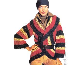 Circle Wrap Sweater Crochet Pattern Granny Square Jacket Shawl Collar Womens PDF Instant Download - C209