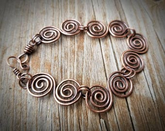 Copper Swirls hammered copper bracelet. Hand forged copper FREE SHIPPING
