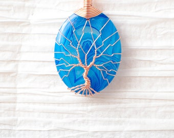 Tree of Life wire wrapped Multi Colored Agate stone pendant