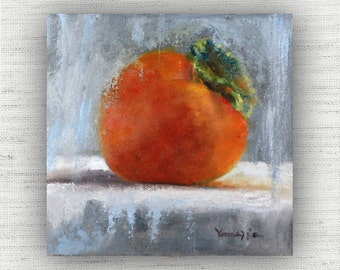 Fruit Painting Print of Still Life Oil Painting Home Decor Wall Art - Colorful Kitchen Food Room Decor, Unique Dining Room Art Print, Orange