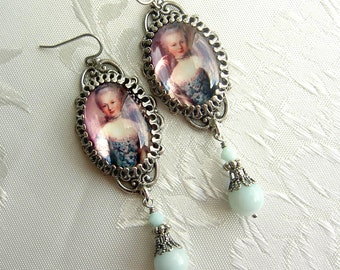Marie Antoinette Earrings in Robin Egg Blue and Filigree - Shabby and Sweetly Chic