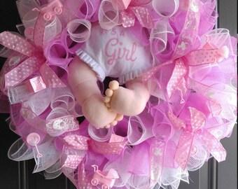 Its A Girl Wreath/ Baby Shower Wreath/ Door Wreath/ Pink Wreath