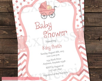 Baby Girl Pink Stroller Baby Shower Invitation