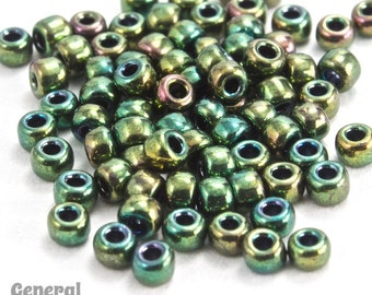 11/0 Metallic Nile Green Iris Japanese Seed Bead (20 gm) #JFJ012