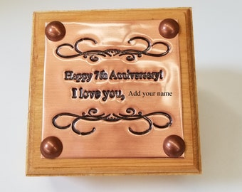 Personalized Copper 7th Anniversary Memory Box, Copper Engraved Jewelry Box, Personalized 7th Anniversary Gift
