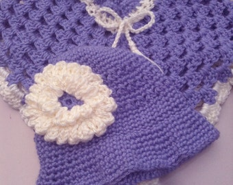 Poncho and Hat Set Hand-Crocheted