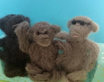 The three are different monkey! Needle felted