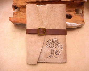 Journal Handmade Leather Wrap with Tree and Tire Swing-Sale