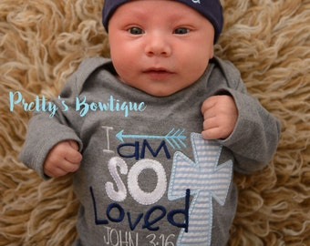 Newborn boy coming home outfit I'm so loved John 3:16 gown and hat -- take home outfit -- Baby boy coming home gown and personalized beanie