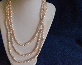 Long Pearl Necklace 60 inch  bridesmaid necklace, wedding necklace