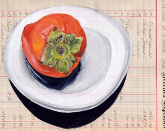 ORIGINAL PAINTING Persimmon on a Plate in Gouache