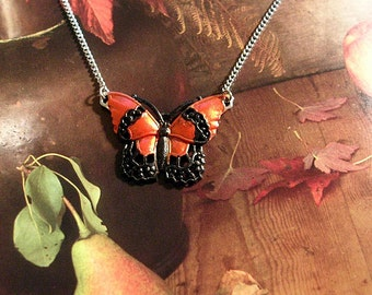 Hand Painted Butterfly Necklace. Orange and Black.