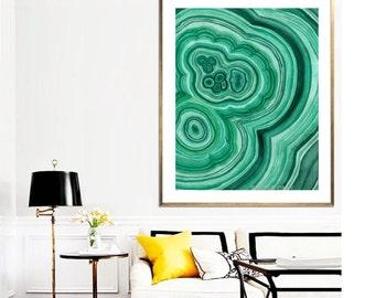 Malachite Crystal Poster PRINTABLE FILE - abstract art, large abstract painting, crystal art print, agate art, abstract print, wall art