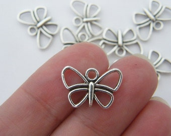 14 Butterfly charms tibetan silver A335