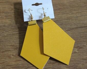 Naked Phoenix Leather Earrings - Mustard Yellow