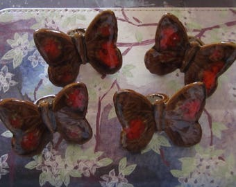 4 Ceramic Butterflies for Macreme Creations