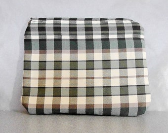 Zipper Pouch Small Clutch Pouch Plaid Yellow Cream Green Bag Gift for Friend Gift Bag