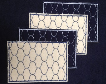 Set of 4 Amime Sashiko Embroidered Post Cards or Bookmarks with Envelopes Coasters