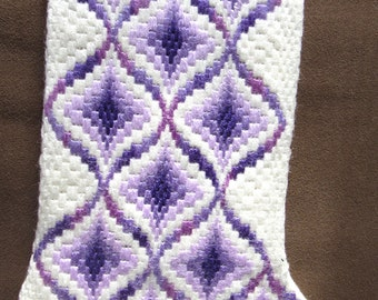 Christmas stocking, bargello needlepoint 5 3/4 wide at  top and 15 inches in length.  Lavenders, purple, white, hand stitched.