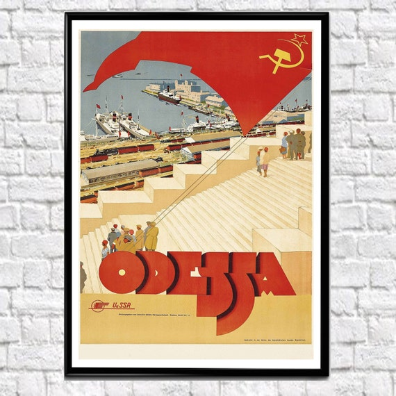 Russian Travel Poster Odessa Russia Travel Poster Print 1950s